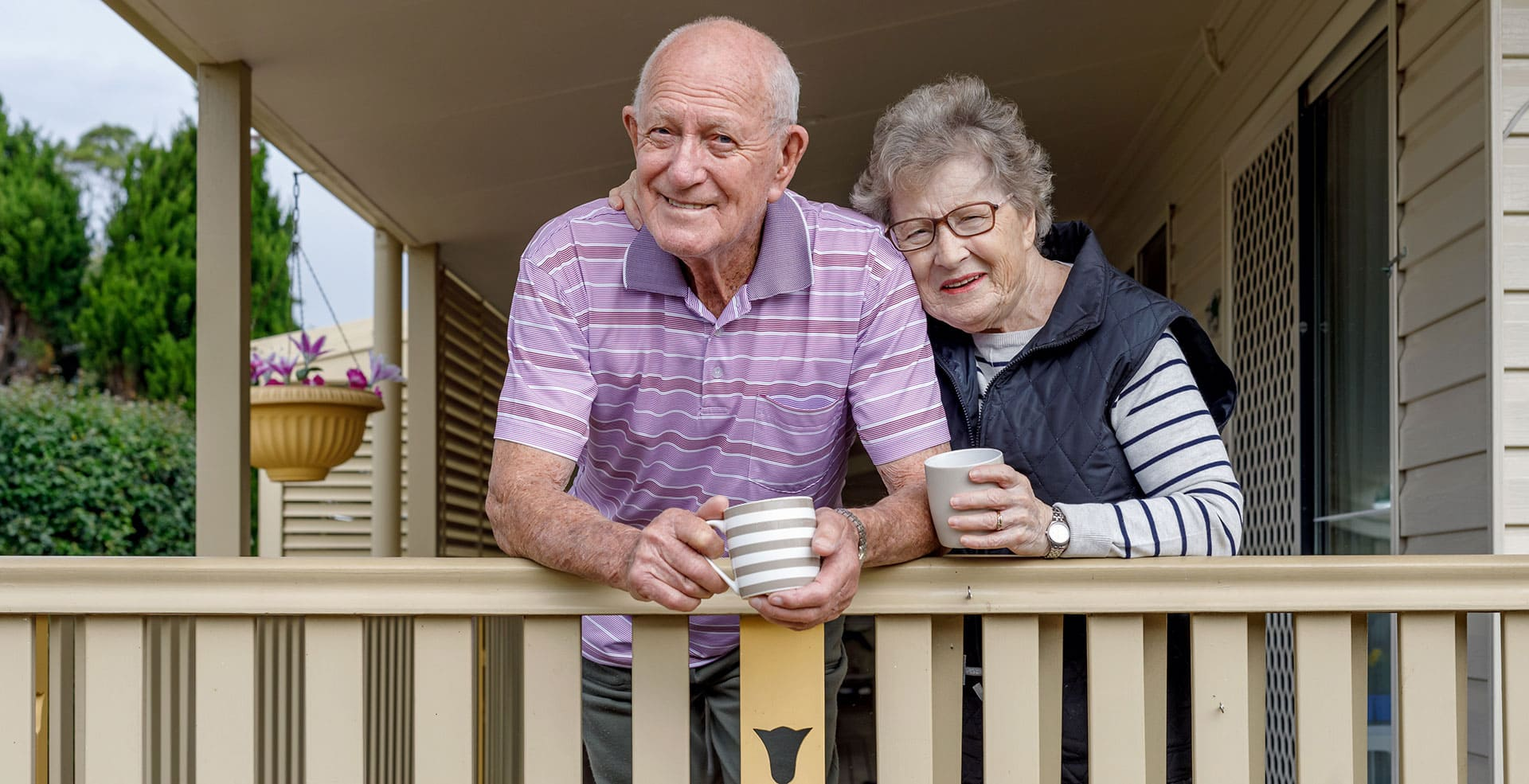 Aging in Place Older Adult Couple on a porch